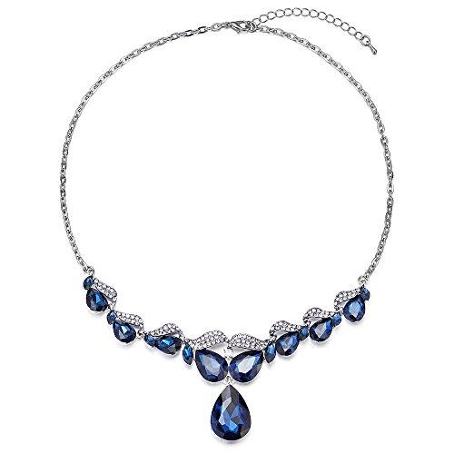 iMECTALII Blue Marquise Teardrop Crystal Rhinestone Leaf Filigree Bridal Wedding Statement Pendant Necklace