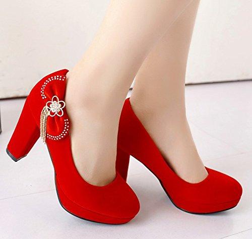 Aisun Femmes Strass Fête Nuptiale Vegan Daim Slip Sur Habillé Chunky Haut Talon Plate-forme Pompes Chaussures Avec Des Arcs Rouge
