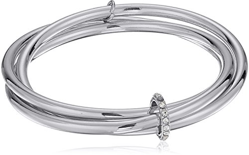 Kenneth Cole New Women's Trinity Rings Silver and Crystal Bangle Bracelet