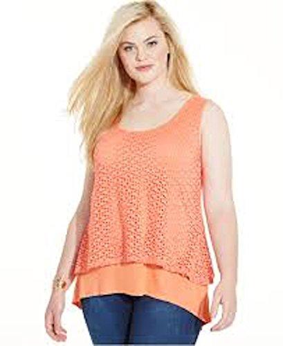 - Style & Co. Womens Plus Layered Eyelet Tank Top Orange 3X