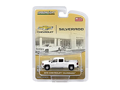 Greenlight 51109A 2015 Chevrolet Silverado Pickup Truck White with Tow Hitch and Tool Box Limited Edition to 2400pcs 1/64 Diecast Model Car