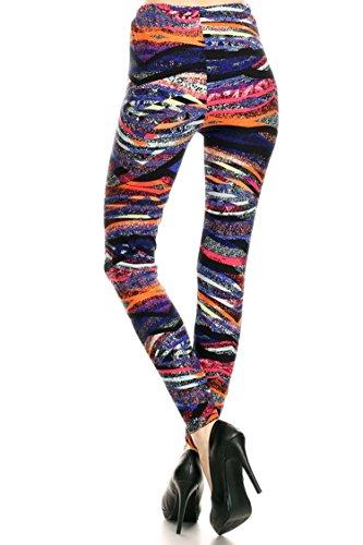 Leggings Mania Women's Plus Geo Stripe Print High Waist Leggings Purple Orange, Plus One Size Fits Most (12-22), Geo Stripe by Leggings Mania (Image #2)