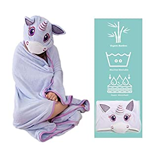 Ultra Soft Bamboo Hooded Baby Towel - Hooded Bath Towels with Ears for Babies, Toddlers - Large Baby Towel - Cute for Boys and Girls (Unicorn)