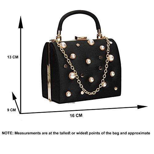 Bag Box Black Pearl Vintage Stud Clutch Satin SWANKYSWANS Womens Briar q40UUC