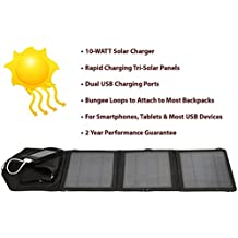 Opteka SP-10W Universal 10-WATT Triple-Panel Rapid Solar Charger with 2 USB Ports for 47st Photo Kindle Fire, Fire HD, Paperwhite, & Ink Tablets
