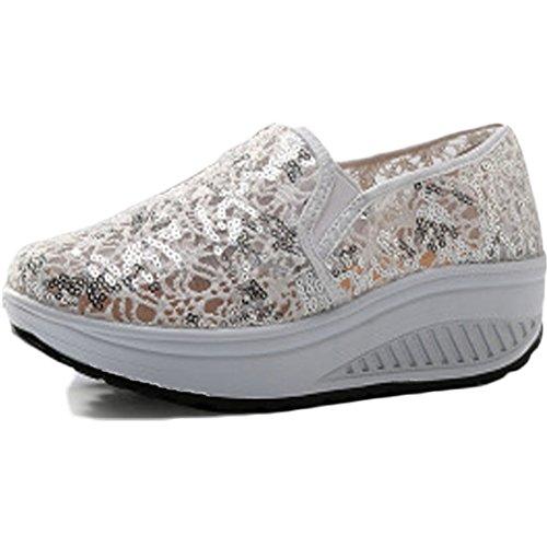 Plateau Laufschuhe oberfläche Sneaker Schuhe C on Keilabsatz Mesh Damen Atmungsaktiv Wedges beige01 Freizeitschuhe Netz Slip Sommer Loafers qBPAdq