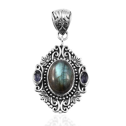 (925 Sterling Silver Handmade Labradorite Iolite Pendant for Women Jewerly Gift)