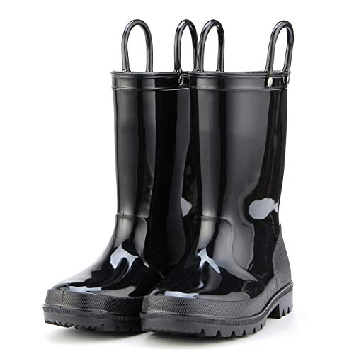 KomForme K Kids Rain Boots, Environmental Material Boots with Memory Foam Insole and Easy-on Handles Black