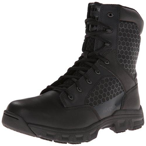 Bates Mens Code 6 Black 8 Inch Leather Nylon Zip Uniform Boot  Black  7 M Us