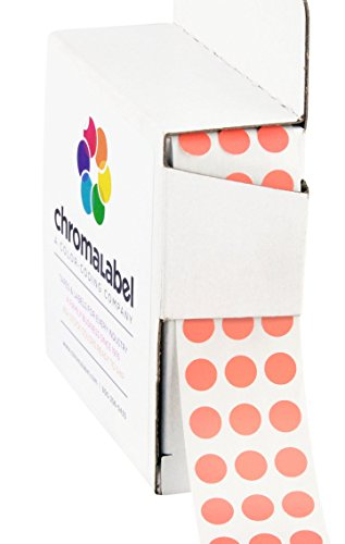 ChromaLabel 1/4 inch Color-Code Dot Labels | 1,000/Dispenser Box (Salmon)