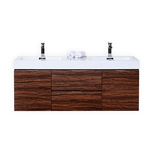 Bliss 60″ Walnut Wall Mount Double Sink Modern Bathroom - Sink Mount Wall Beige