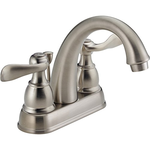 Compliant Delta Faucets - Delta Windemere Brushed Nickel 2-Handle 4-in Centerset WaterSense Bathroom Faucet (Drain Included)