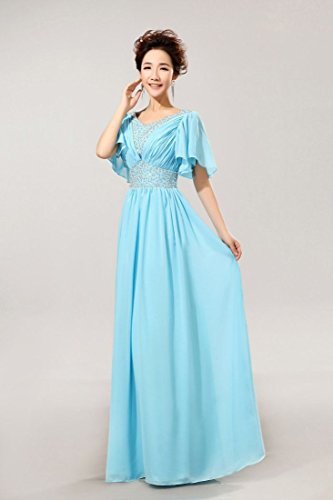 Kleid Emily Sleeve Blau Heart Buble Sweat Abendkleider lang Chiffon Beauty T7qOpwg