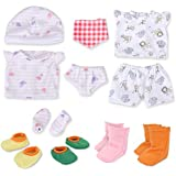 WakaoFeeling 11-13 Inch Alive Baby Doll Clothes Shoes Socks Mittens Hat Bibs Underwear for 11