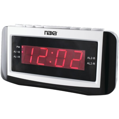NAXA NRC-171 PLL Digital Dual Alarm Clock with AM/FM Radio, Snooze and Large LED Display (Black Lacquer) (Digital Clock Small Plug)