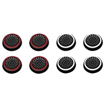 Insten [4 Pair/8 Pcs] Silicone Analog Thumb Grip Stick Cover, Game Remote Joystick Cap for PS4 Dualshock 4/ PS3 Dualshock 3/PS2 Dualshock/Xbox One Wireless/Xbox 360 Controllers (Black/Red,Black/White)