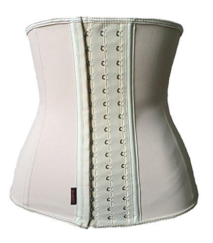 Dilanni Women's Latex Waist Cincher Spiral Steel Boned Tummy Shapewear Girdle Apricot XL