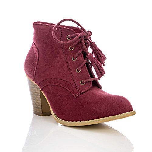 Charles Albert Women's Tasseled Lace-up Mid-Heel Ankle Bootie in Burgundy Size: 7 ()