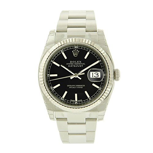 Oyster Perpetual DateJust Stainless Steel 18K White Gold Fluted Bezel Black Stick Dial Watch - 36 mm