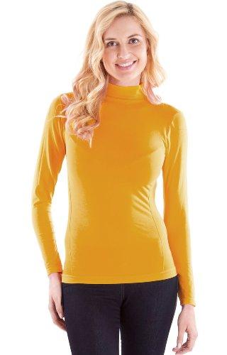 Ladies Yellow Seamless Long Sleeve Turtleneck Top