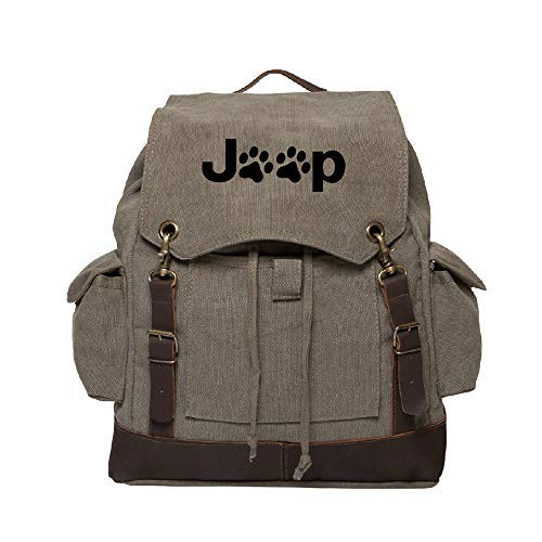Jeep Wrangler Cat Dog Paw B07R3Y4ZGJ Prints Cat Canvas Rucksack Backpack Backpack w/Leather Straps Olive [並行輸入品] B07R3Y4ZGJ, ユタカマチ:f4e927af --- anime-portal.club