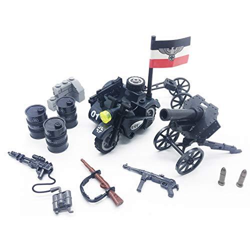 (koolfigure Custom WW2 Military Building Blocks Set, The German Army K750 Motorcycle w/ Light Machine Gun, Sandbags, Weapons)