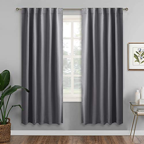 RYB HOME Living Room Blackout Curtains Draperies, Insulated Window Treatments Panels with Back Tab & Rod Pockets Top, Privacy Curtains for Bedroom, 42
