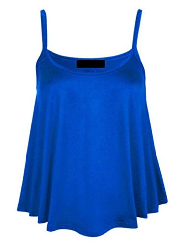 New Womens Ladies Plus size plain sin mangas Swing de mecánico tiras Cami chaleco Tops UK 8 –�?0 azul real
