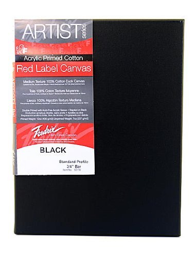 Fredrix Red Label Black Stretched Cotton Canvas 14 in. x 18 in. each [並行輸入品]   B07T9SMNGF