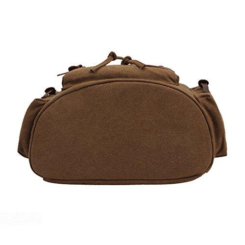 Kaukko Escuela Mochila Hombres Mujeres Vintage Canvas Backpack Senderismo Bolsa Casual Bolsa de viaje para Sony / Canon / Nikon / Olympus / iPad y Tablet Samsung / Laptop de 14 Caqui