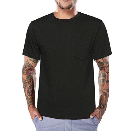 Tops T T Longra mit Shirt I Shirt Kurzarm Tasche I I Ausschnitt I I Einfarbige Rundhals Regular Sommer Basic Shirts I Shirt I Shirt Black Herren Männer T Fit SrXF8S