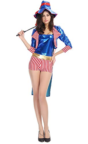 mewow Halloween Costume Women's Magician Cosplay Uniform Performance Host Dress -