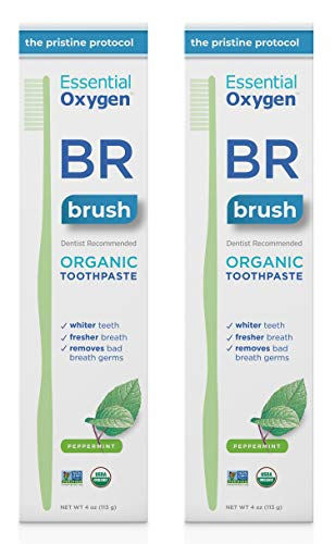 Jason Natural Glycerine - Essential Oxygen BR Certified Organic Toothpaste, for Whiter Teeth, Fresher Breath, Happier Gums, Tooth Sensitivity, Peppermint, 4 Ounce, 2 Count