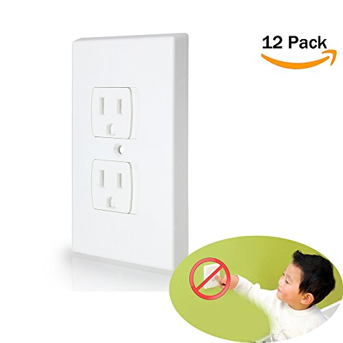 Baby Safety Self-Closing Electrical Outlet Covers | Alternative To Wall Socket Plugs Plate for Child Proofing | Automatic Sliding Guards Kit | House & Kitchen Protection Kit | BPA Free - 12Pack, White