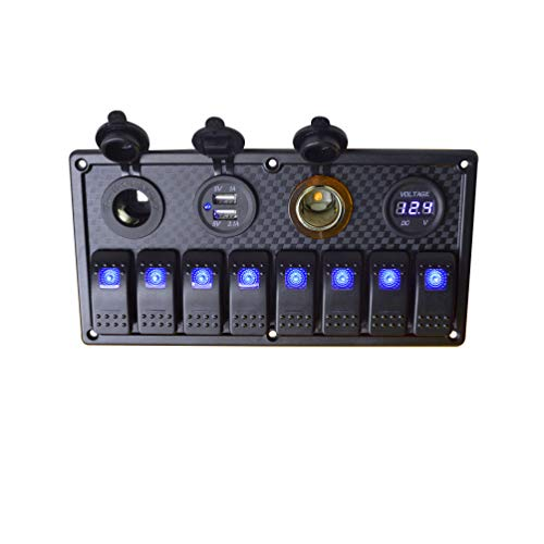 (JOYHO 8 Gang Rocker Switch Panel, with Digital Voltmeter Display, Dual USB Charger Port, DC 12V Power Socket, Cigarette Lighter Socket, 12/24V Breaker Switches for Marine Car Truck Boat, Blue Light)