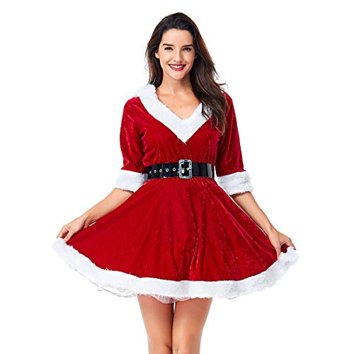 Quesera Women's Mrs. Claus Costume 2 Piece Hooded Santa Sweetie Christmas Outfit, Red, Tag Size L=US Size Large