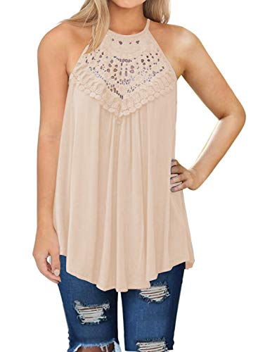 MIHOLL Womens Summer Casual Sleeveless Tops Lace Flowy Loose Shirts Tank Tops (XX-Large, -