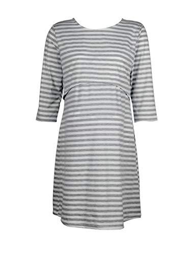 Zhhmeiruian Mujer Vestido de Maternidad Algodón Lactancia Camisón - Embarazadas Ropa 3/4 Sleeve Striped Doble Capa Vestido...