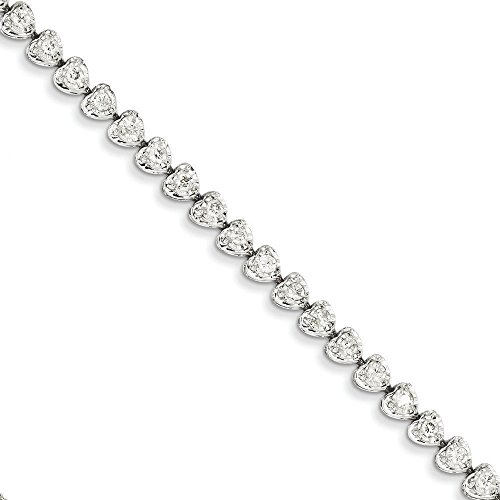 Or blanc 14 carats diamant coeur lien Bracelet-JewelryWeb