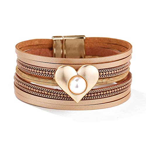 - EGOO&YAMEE Multi-Layer Leather Bracelet - Braided Wrap Cuff Bangle - with Alloy Magnetic Clasp Handmade Jewelry for Women,Girl Gift