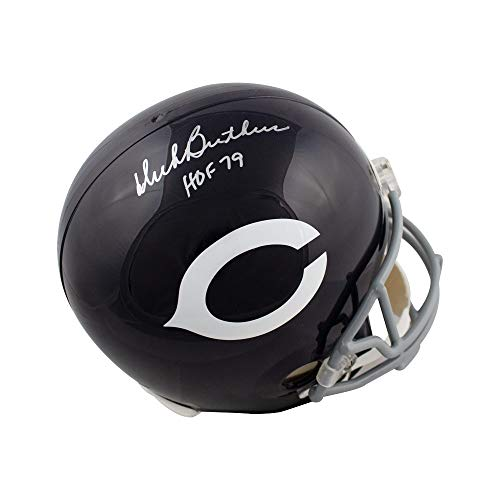 Dick Butkus Helmet - Dick Butkus HOF Autographed Chicago Bears Throwback Full-Size Helmet - Leaf COA