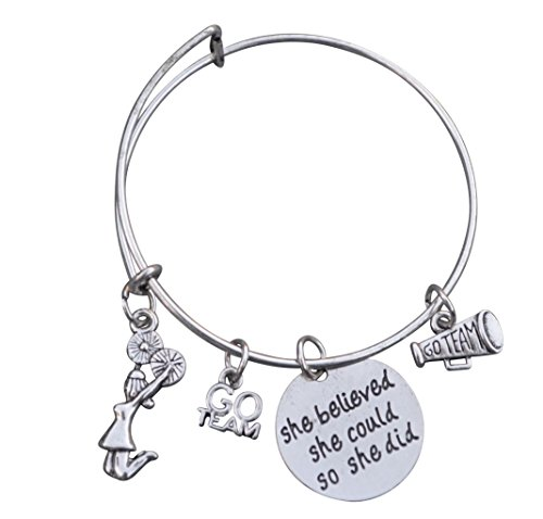 Infinity Collection Cheer Charm Bracelet- Cheerleading She Believed She Could So She Did Bangle Bracelet- Cheer Jewelry for Cheerleaders & Cheer Coaches