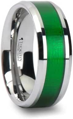 VARDON Tungsten Carbide Ring with Textured Green Inlay - 8mm