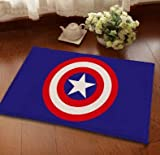 23 X 15 Inch Blue Captain America Bath Mat, Red Superhero Bathroom Mat Comics Themed Anti Slip Bath Rug Avengers Super Hero, White Adhesive-Proof Waterproof Soft, Suede