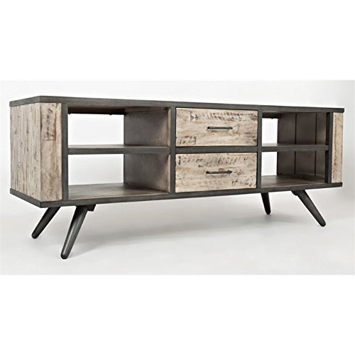 Jofran: 1642-62, American Retrospective, 62″ Media Unit, 62″W X 19″D X 24″H, Grey Wash Finish, (Set of 1)