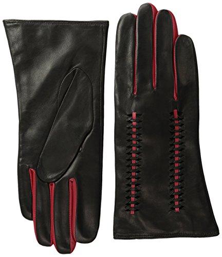 BADGLEY MISCHKA Women's Lattice Glove, Black/Red, 7.5 by Badgley Mischka