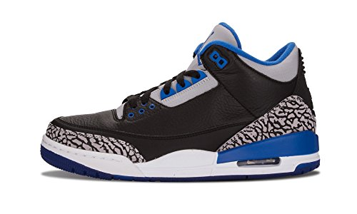 NIKE Mens Air Jordan 3 Retro Black/Sport Blue-Wolf Grey Leather Basketball Shoes Size 9.5