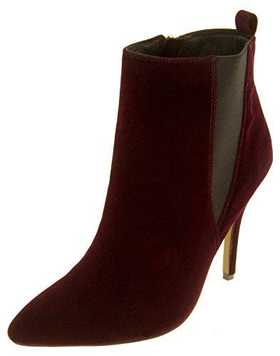 Mujer Ravel Tacón de aguja de terciopelo apuntó las botas del tobillo del dedo del pie Rojo