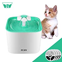 Pedy Pet Water Fountain, Cat Water Fountain 2L Pet Water Drinking Dispenser Fountain for Cats and Dogs with 4 Replacement Filter and Silent Pump -only Seller airring
