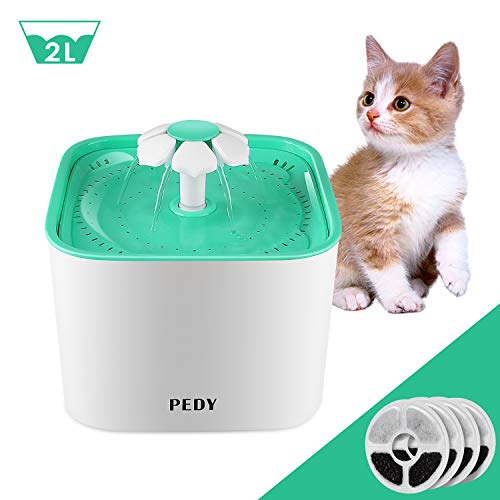 Pedy Cat Water Fountain, Automatic Cat Flower Water Fountain, Pet Water Fountain for Cats and Dogs with Filter 4 Filters, Green (2.0L)